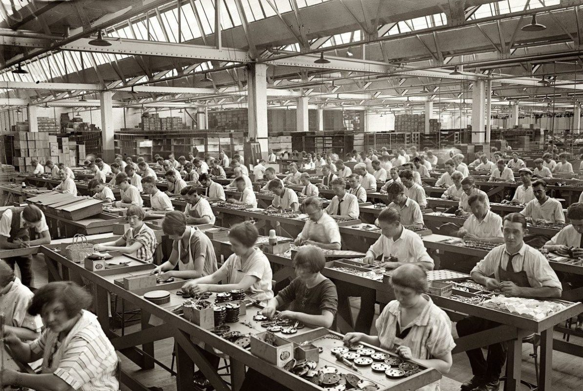 factory workers in black and white