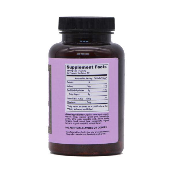 500mg deep dreams mixed fruit gummy bottle side 3